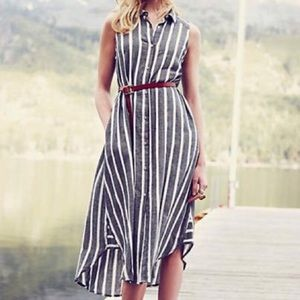 Anthro Holding Horses button front striped Dress